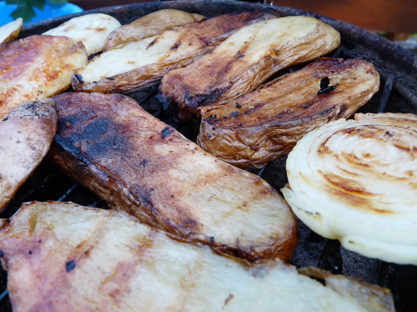 ... : Grilled Honey Dijon Lemon Chicken w/ Grilled Onion and Potato Slabs
