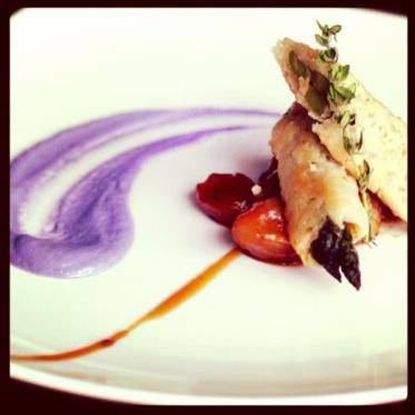 Purple cauliflower purée with filo-wrapped asparagus and caramelized ...