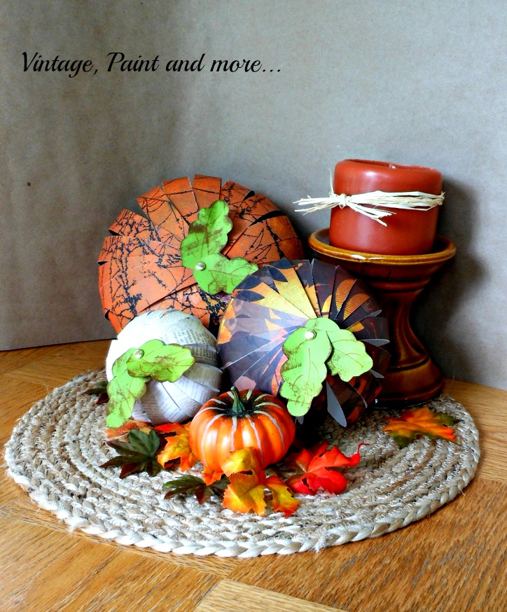 Vintage, Paint and more... Paper Strip Pumpkins for Fall