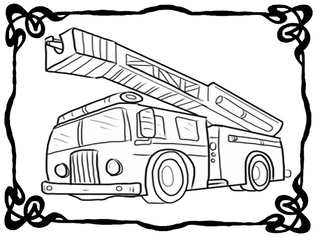 fire truck coloring book pages