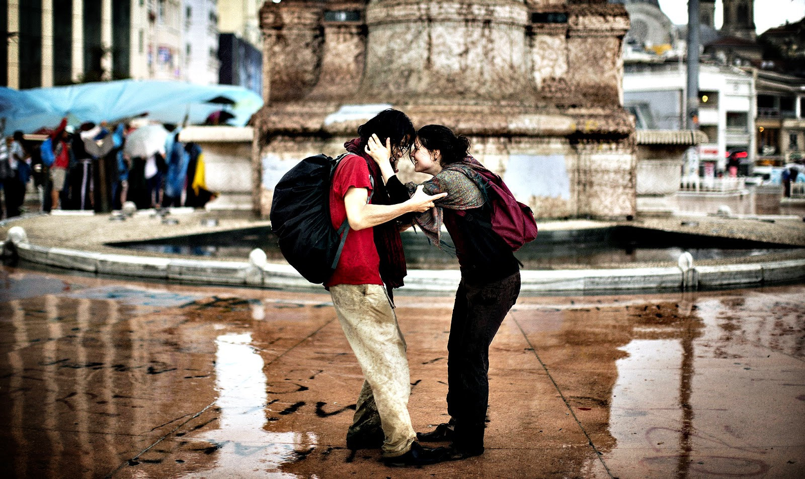 romantic couple in rain - couple after rain