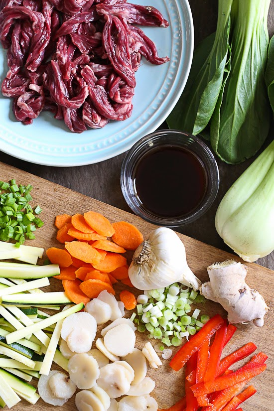 Skirt Steak, Baby Bok Choy and Zucchini Stir-Fry – a quick, low-carb one-pot dinner!