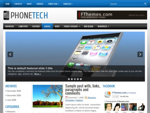 Free PhoneTech - for a Mobile Phone ant Tech Website WordPress Theme