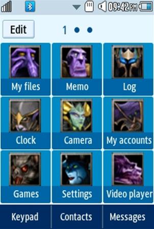 DOTA Atropos (Bane Elemental) Samsung Corby 2 Theme Menu