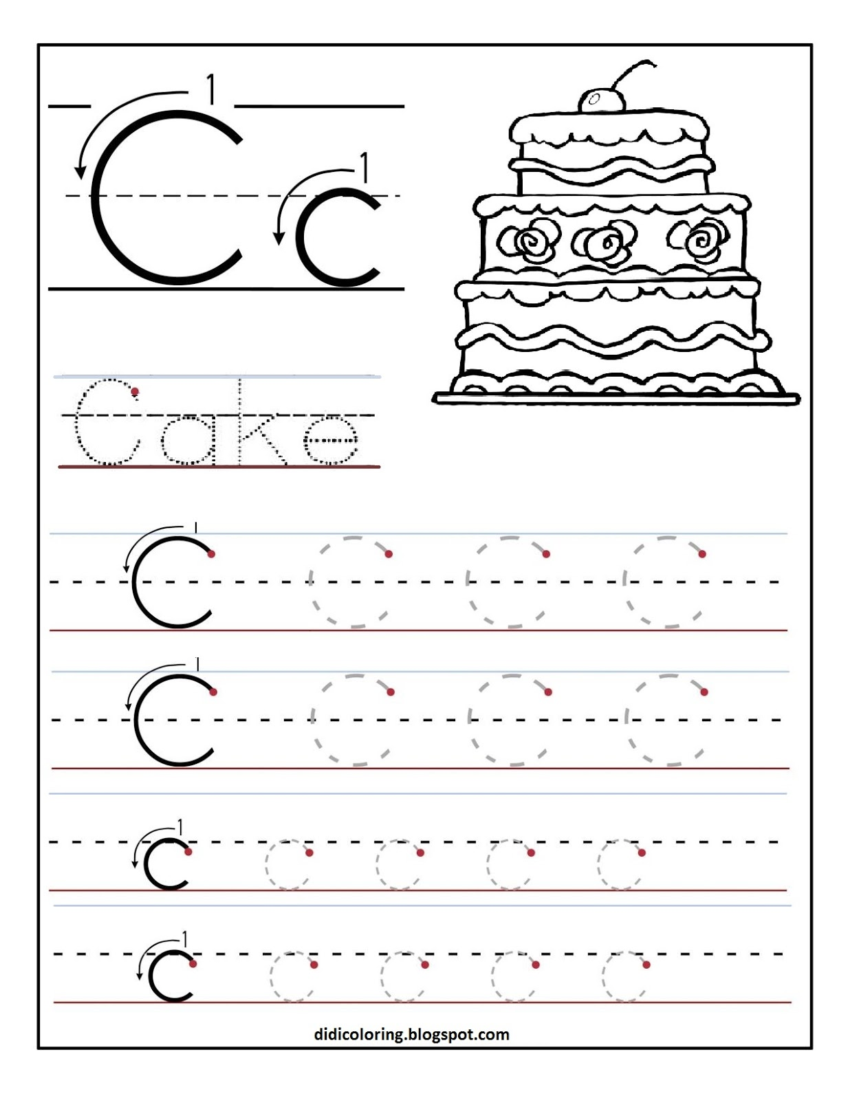 math worksheet : free printable worksheet letter c for your child to learn and  : Free Printable Worksheets For Kindergarten Writing