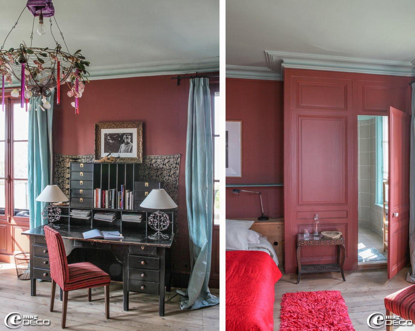 La chambre 'Terrasse' de la maison d'hôtes 'Le Clos Bourdet' à Honfleur est dotée d'une grande terrasse privative surplombant la ville