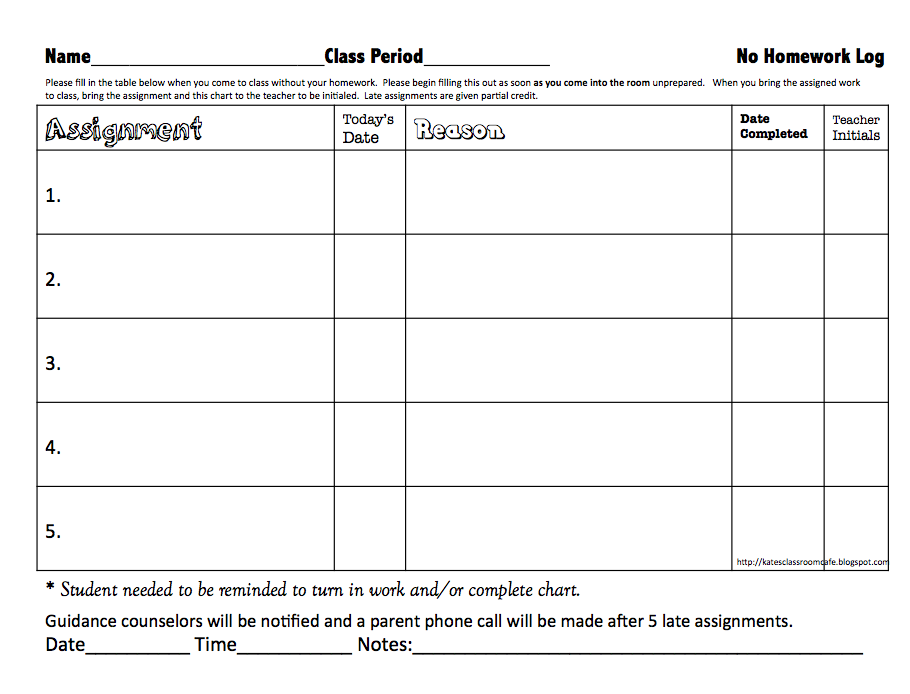 Kate's Science Classroom Cafe: No Homework Record Sheet Freebie