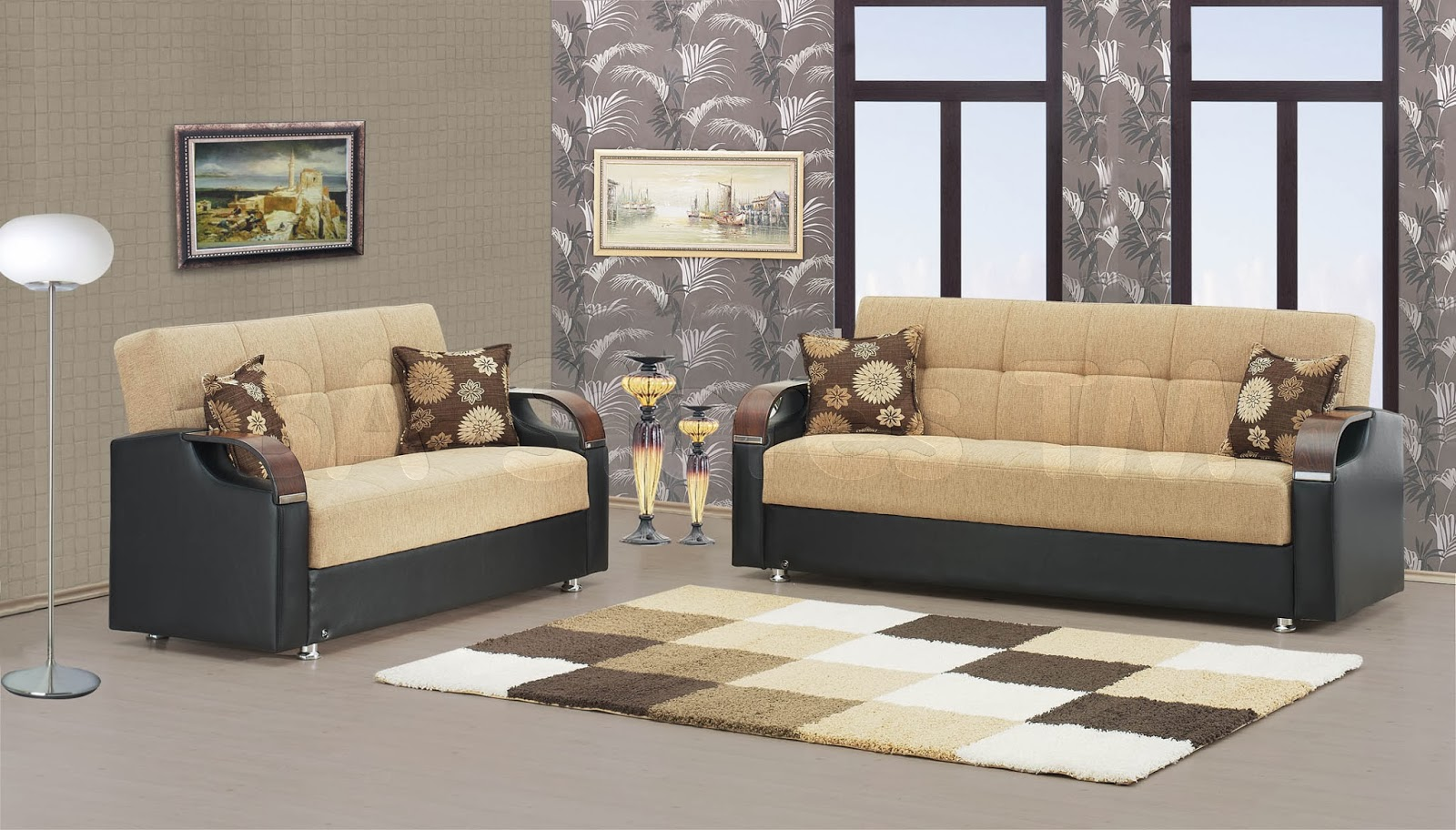 Living room design with leather sofa living room for Latest drawing room furniture