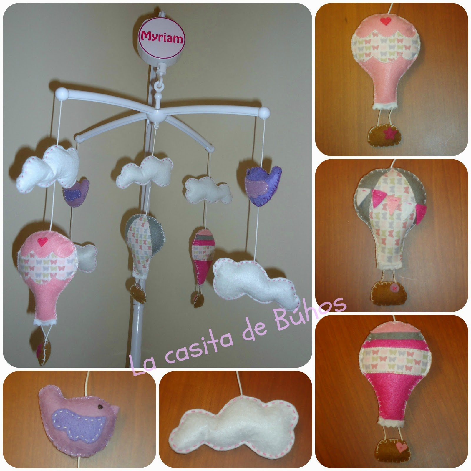Móvil de cuna en fieltro - Globos / Felt Crib mobile - Hot air balloon