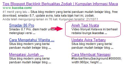 Menampilkan Subdomain - Artikel Dalam Sitelink