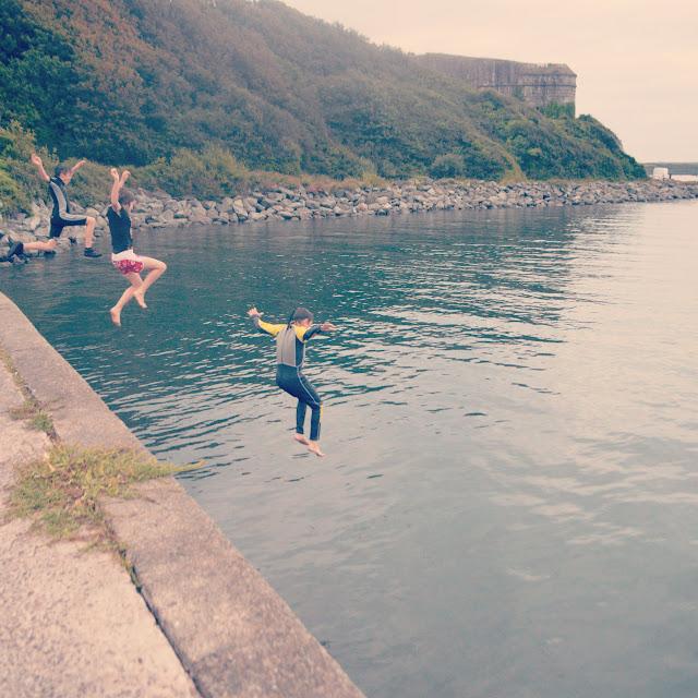 Swim jump Gelliswick Bay Pembrokeshire