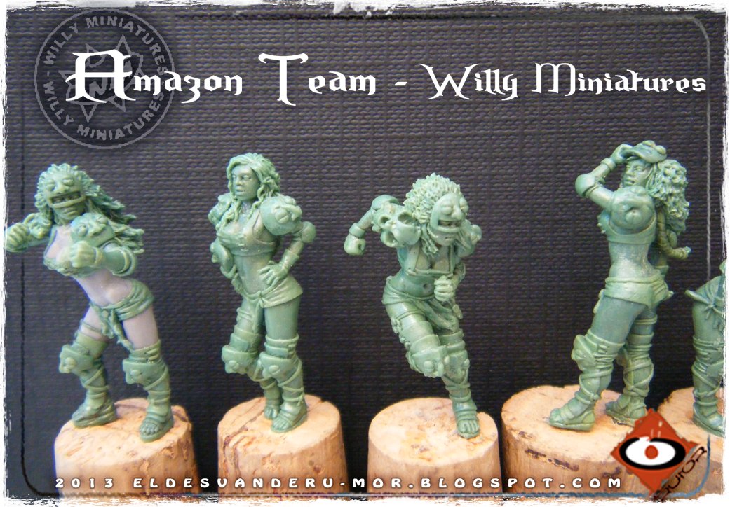 Foto de varias miniaturas del Equipo Blood Bowl de Amazonas de WILLY Miniatures hechas por ªRU-MOR. Blitzers, fantasy football