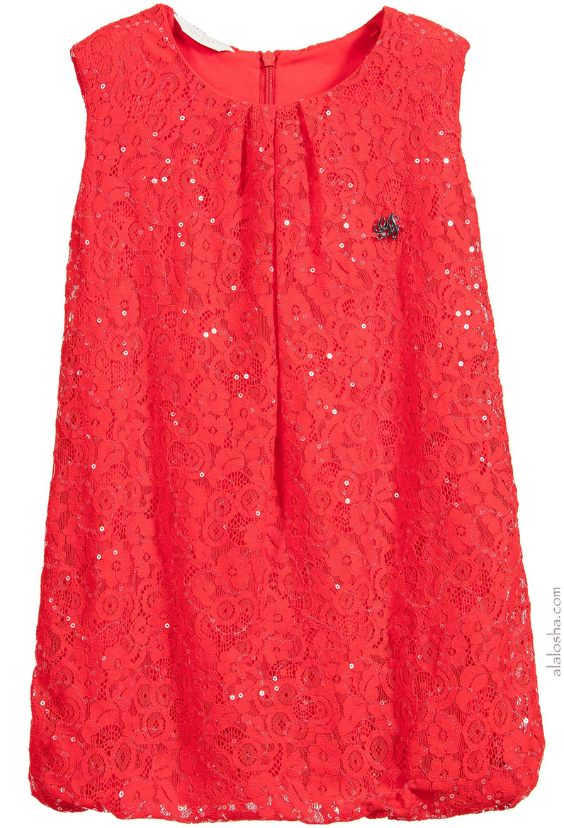 Red Lace Sequinned Dress