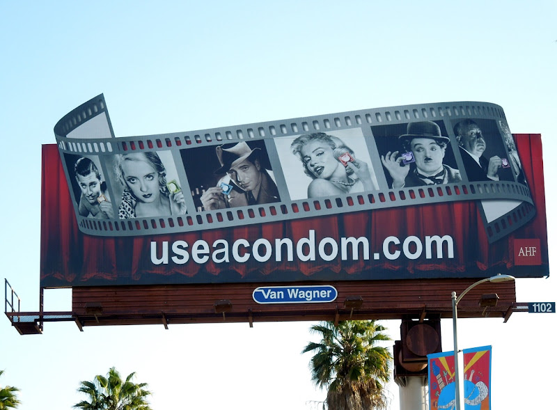 Hollywood screen legends condom extension billboard