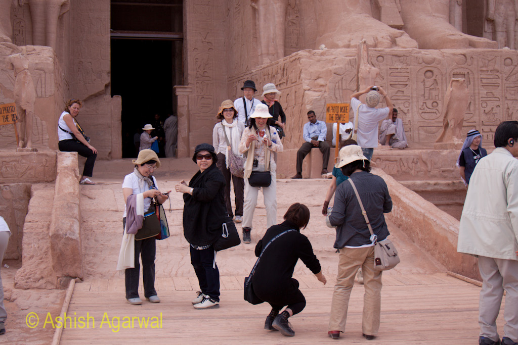 Tourists at the entrance to the Abu Simbel temple in south Egypt