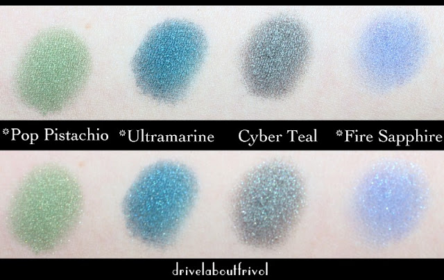 Estee Lauder eyeshadow swatches Pop Pistachio, Ultramarine, Cyber Teal, Fire Sapphire