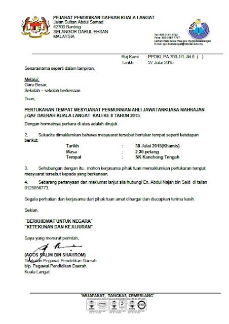 SURAT PERTUKARAN TEMPAT MENYESUARAT PEMURNIAN AHLI JAWATANKUASA MAHRAJAN j-QAF PPDKL 2015