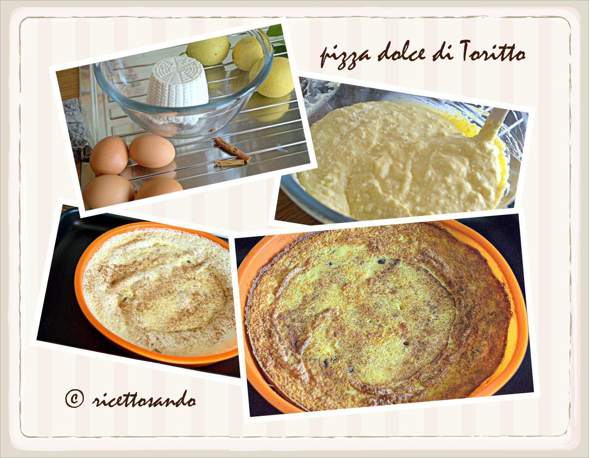 Pizza dolce di Toritto ricetta dolce prepariamo la miscela e spolveriamo di cannella