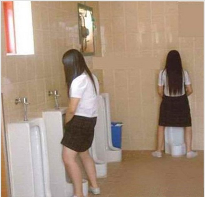 Pee standing at toilet