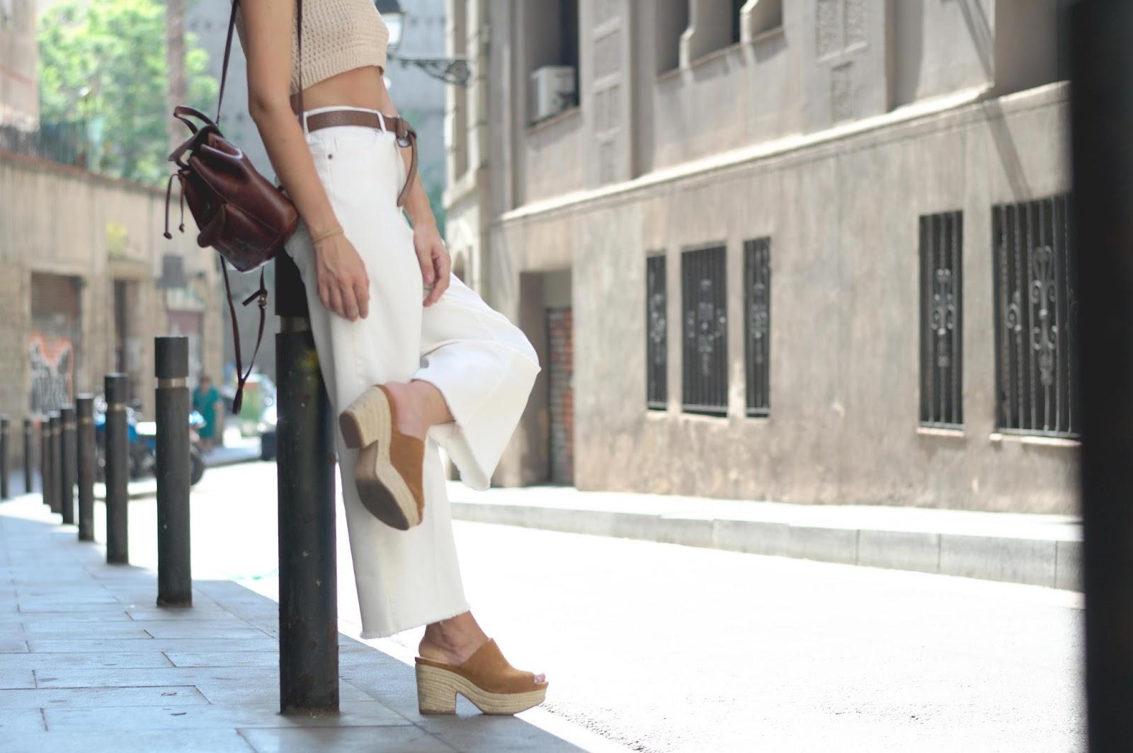 Crop top DIY, Culotte HM, cuñas Zara, bolso piel vintage