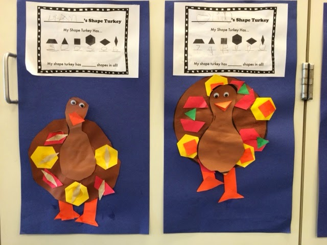 use pattern blocks to make turkey tail patterns