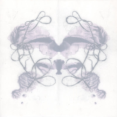 "Erin Curry. drawing. tangleblot (same but different two). ink, handspun thread graphite print and mylar on wood. 6""x6"" ©2012"