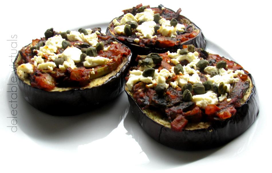eggplant pizza mustard greens sauce