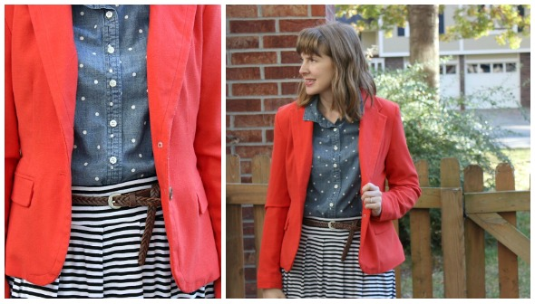 striped skirt with polka dot chambray and bright blazer | www.shealennon.com