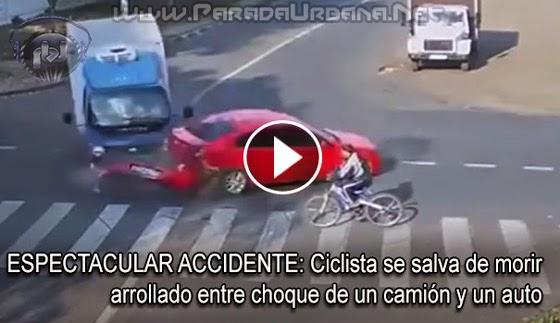 ESPECTACULAR ACCIDENTE: Ciclista se salva de morir arrollado entre choque de un camión y un auto