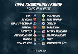 Hasil Drawing Babak 16 Besar Liga Champions