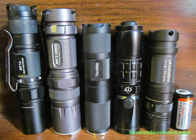 From Left: Nitecore MT1A, Nitecore SRT3, Thrunite Neutron 1C, iTP SC1, Sunwayman V11R, EagleTac 16340