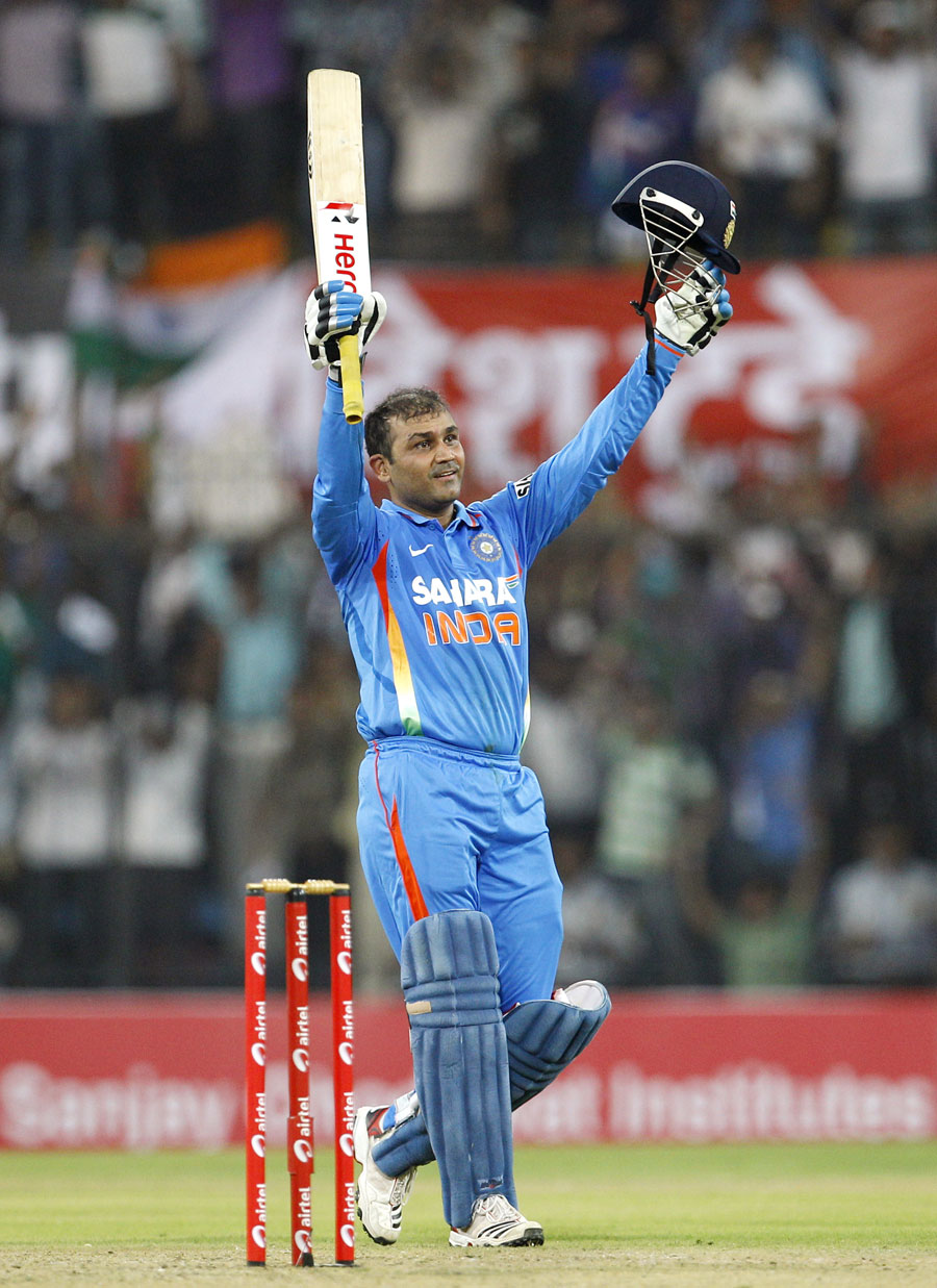 Indian Batsman Virender Sehwag Celebrates His Record Breaking Double Hundred