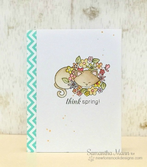 Think Spring cat Card with Lion Mane of Flowers | Card by Samantha Mann |  Stamps by Newton's Nook Designs