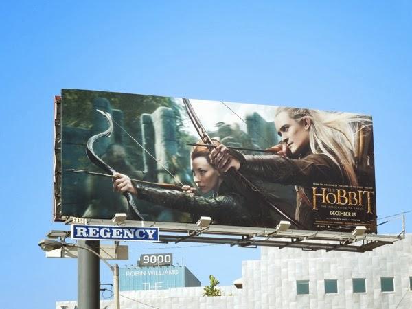 Hobbit 2 Tauriel Legolas billboard