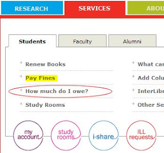Picture of links in Services tab of Library website