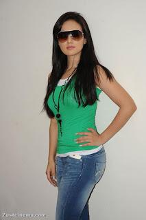 Sana Khan in Spicy Tight Green Top and Denim Jeans Trendy Sana Khan