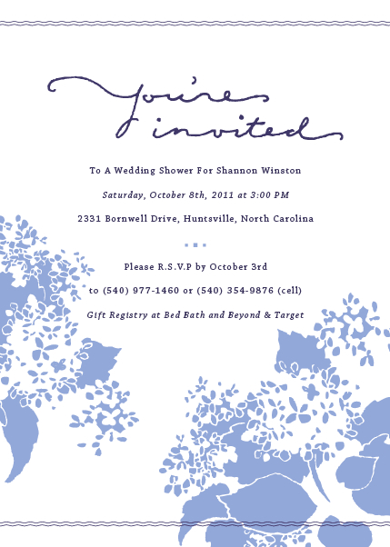 Handdrawn floral wedding shower invitation