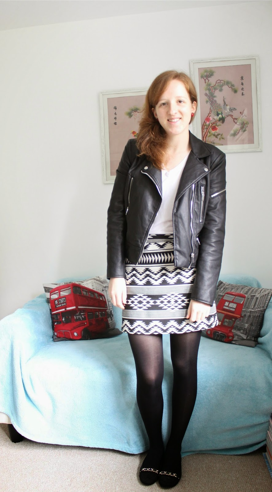 OOTD: Topshop Monochrome Aztec A-Line Skirt and Leather Jacket