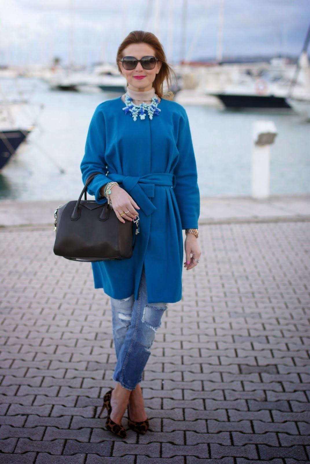 The best winter coats, turquoise belted coat, fashion blogger Fashion and Cookies, fashion blog