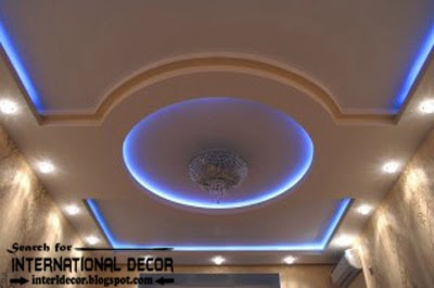 LED ceiling lights, LED strip lighting, false ceiling pop design