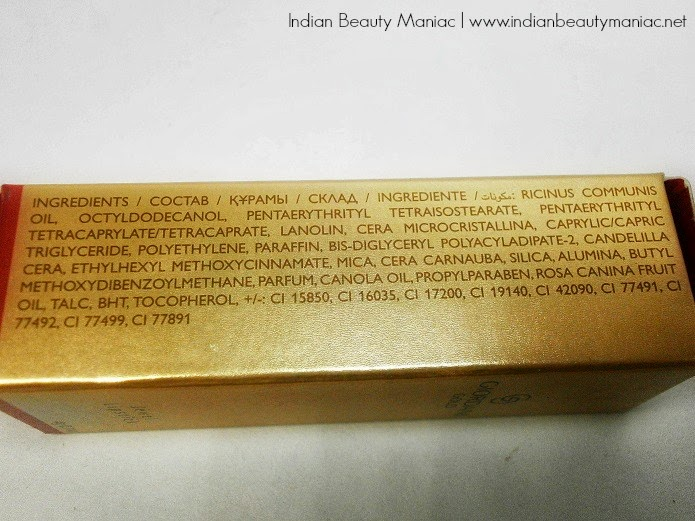 Oriflame Giordani Gold Lips Lipstick in Mauve Dream Ingredients List