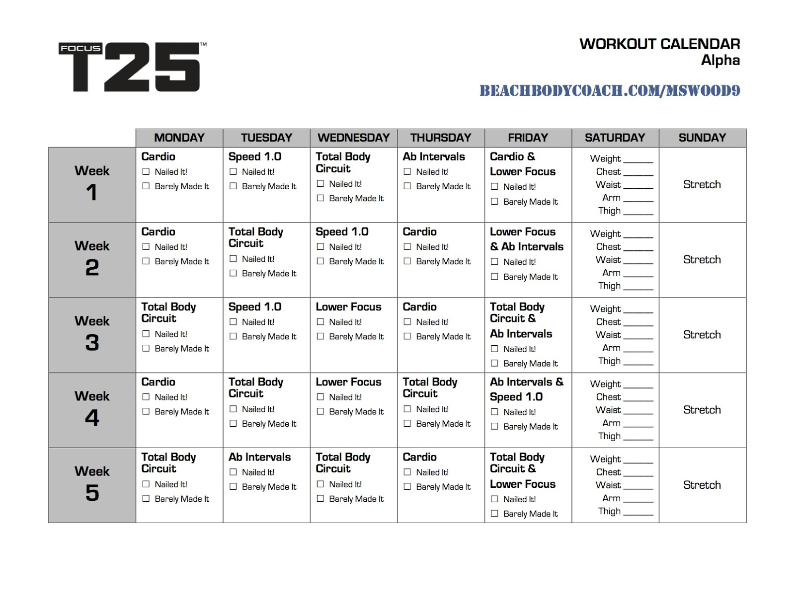 michelle is living well: focus t25 workout calendar