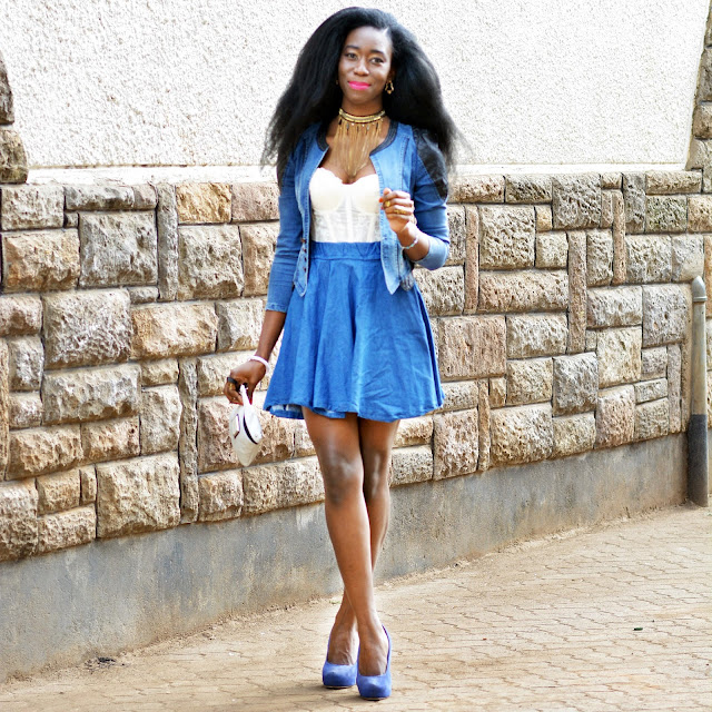 Denim on denim, corset look, denim jeans, denim circle skirt, blue heels, Ezil, style with ezil, African fashion blogging, Kenyan Fashion blogger