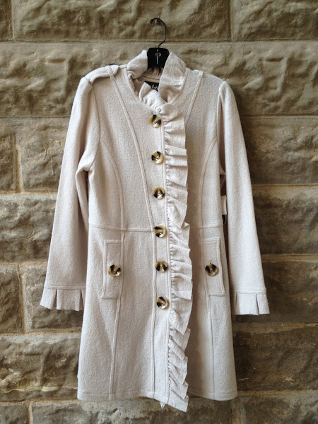 Boiled wool coat in ivory.  $138