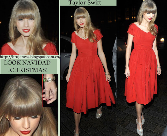 Taylor Swift look red dress hotel london christmas