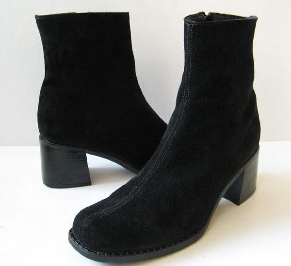 closet la canadienne black suede ankle boots womens