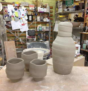 crazy green studios, pottery, the village potters, new forms, sake