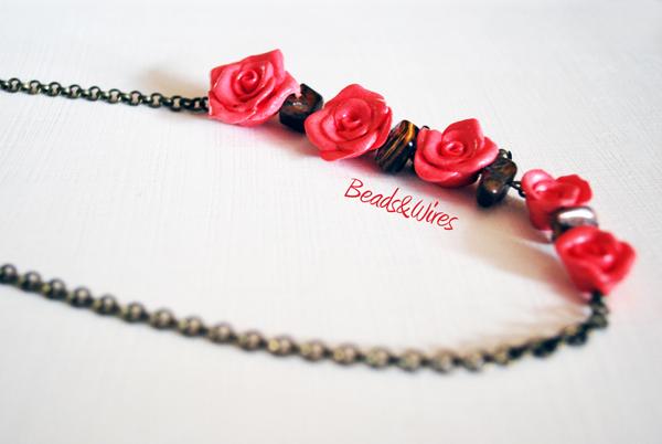 collana roselline rosa