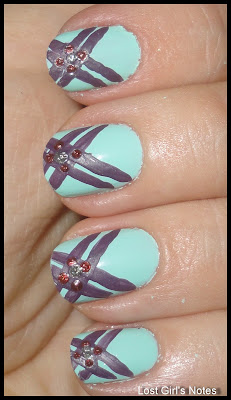 criss cross manicure with essie mint apple