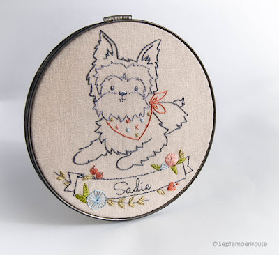 Yorkshire Terrier hand embroidery pattern